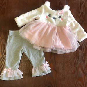 Bear Soft Sweater Outfit Pink White & Gray